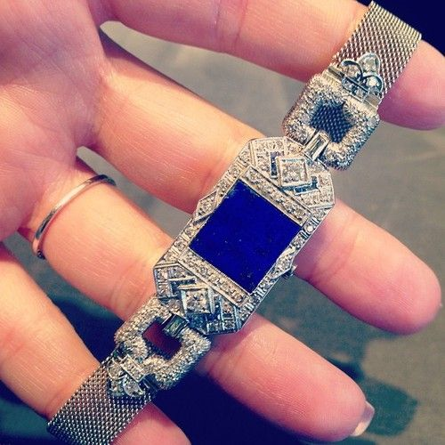 This #ArtDeco watch at @theantiqueguild has been given new life by a piece of lapis where its face used to be. What do you think? #instabling #jewelry #antiquejewelry