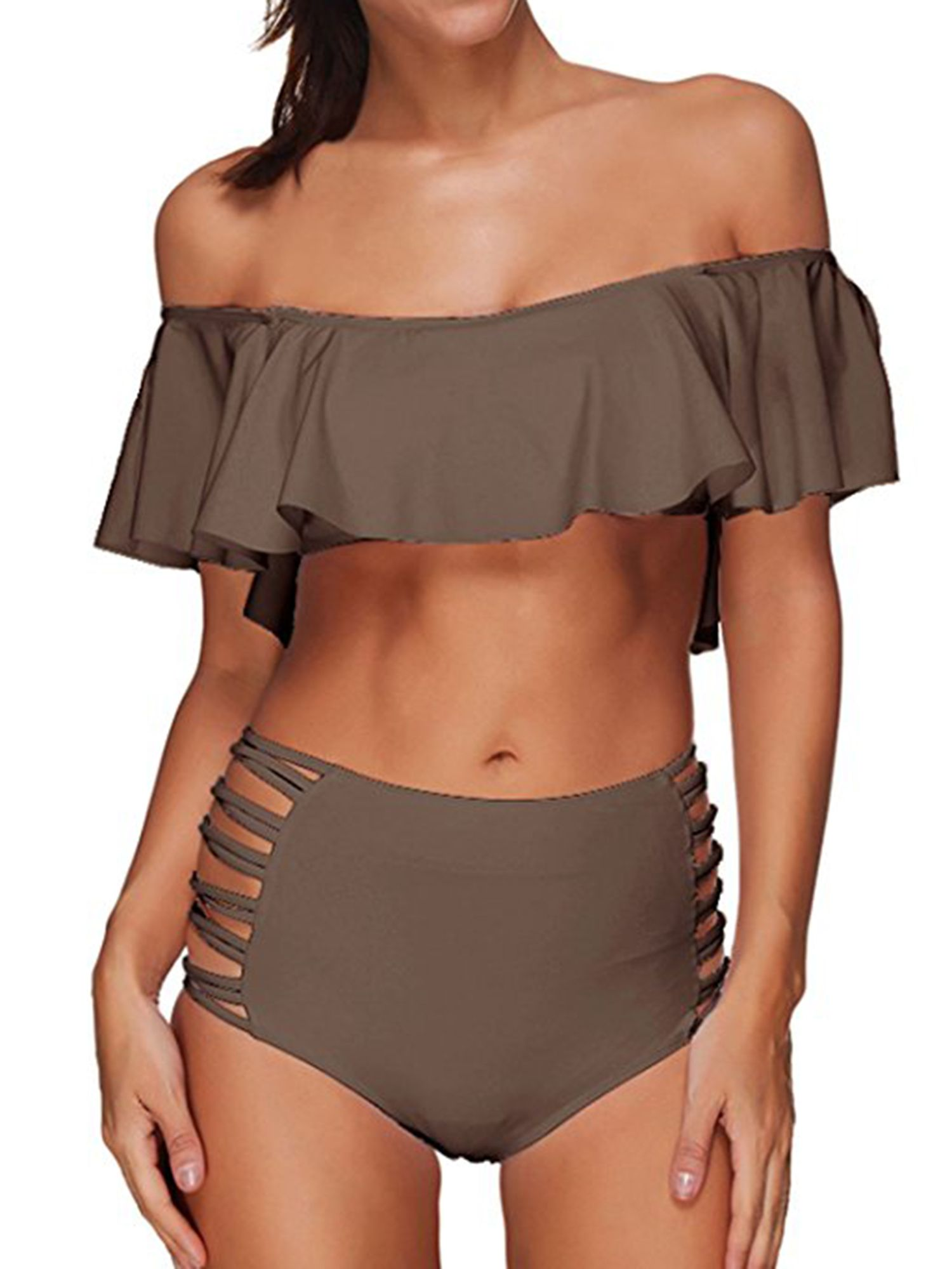 7c5ea0700f7 LELINTA Women Two Piece Swimsuit Set Off Shoulder Ruffled Flounce Crop  Bikini Top with High Waist Cut Out Bottoms Swimwear Five Color Shoulder