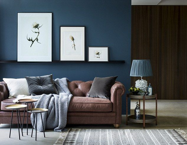 Don T Go To War Over The Decor Find A Compromise To Suit You Both Brown And Blue Living Room Dark Blue Living Room Brown Couch Living Room