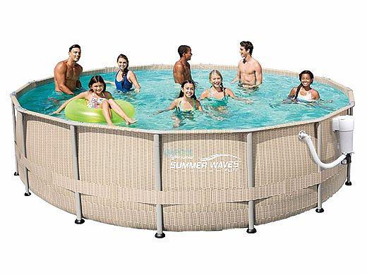 Summer Waves Elite Light Wicker Round Metal Frame Pool Package 15 Round 48 Tall Nb2231 500 Wicker Pattern In 2020 In Ground Pools Pool Summer Waves