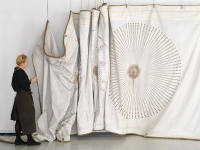 talisman:  hand stitching on old ships' sails - Grethe Wittrock