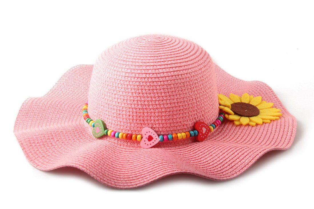Dantiya Kids Multicolor Sun Hat Large Brim Flower Beach Hats for Girls   f6579c77dc8