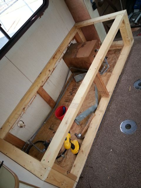 Frame Work To The New Couch Slide Out Bed Camper Beds Rv Storage Remodeled Campers