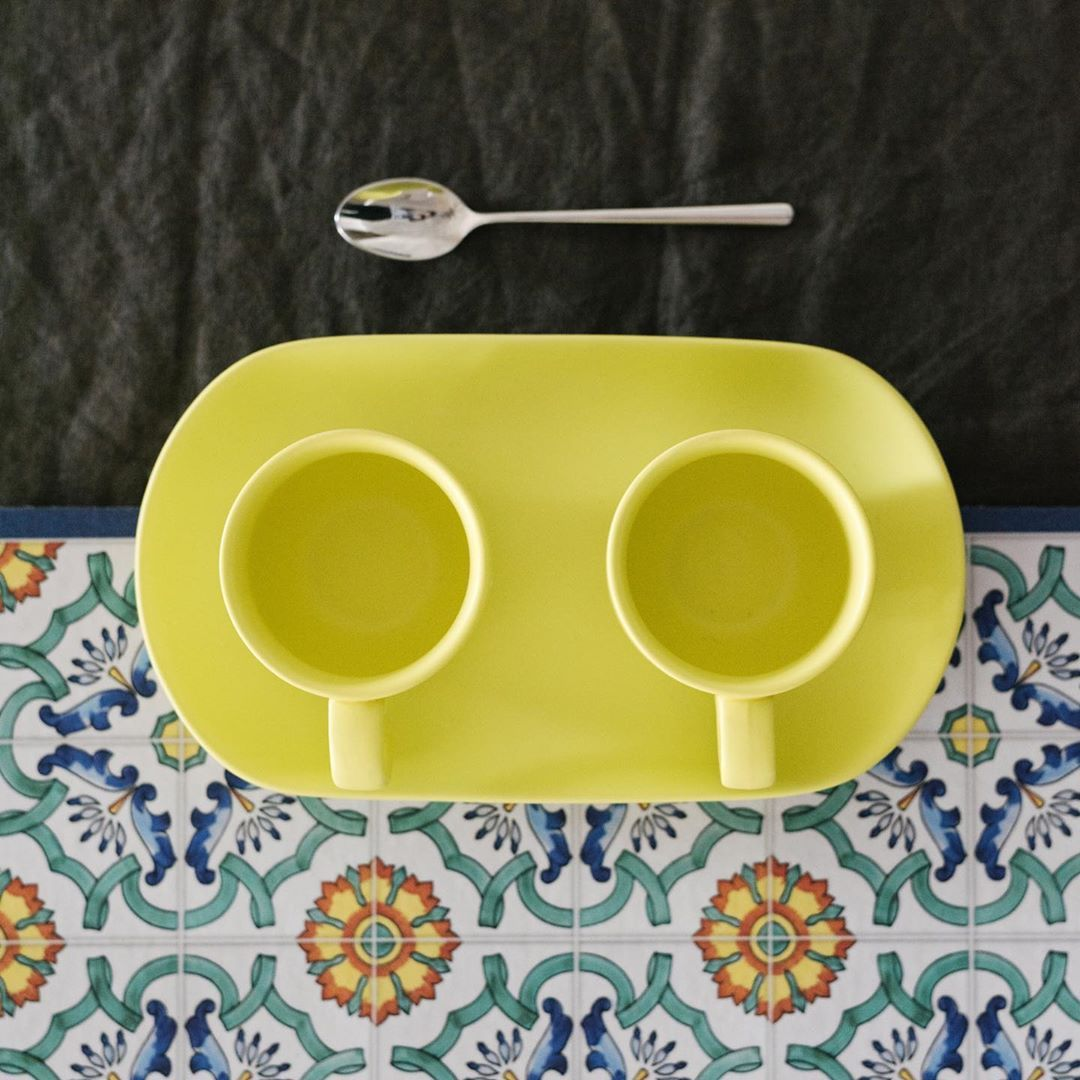House Of Jay Espresso Cups With Tray Yellow Homeware Shop Display Placemats House Warming Gifts