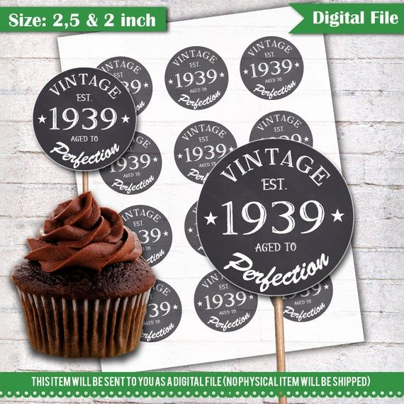 80th Birthday Cupcake Toppers 1939 Vintage Aged To Perfection