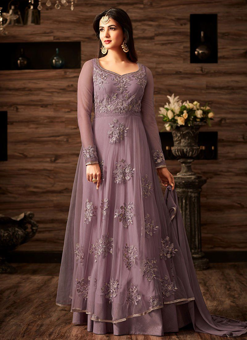 5f7a9c05f4 Buy Light Violet Net Abaya Style Anarkali Suit online, SKU Code: SLSCC4807.  This Violet color Party anarkali suit for Women comes with Embroidered Net.