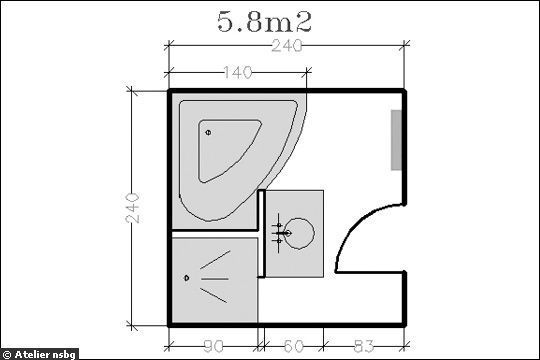 Surface de douche baignoire d 39 angle 18 plans de salle de bains de 5 11 m for Salle de bain carree 4m2
