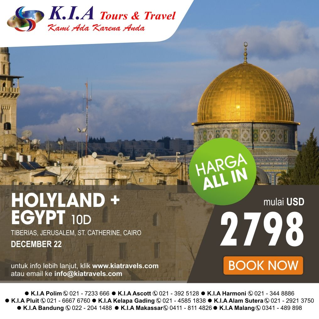 Holyland + Egypt 10Days. depart Dec, 22 Start from USD 2798 for more information click www.kiatravel.com or mail to info@kiatravels.com