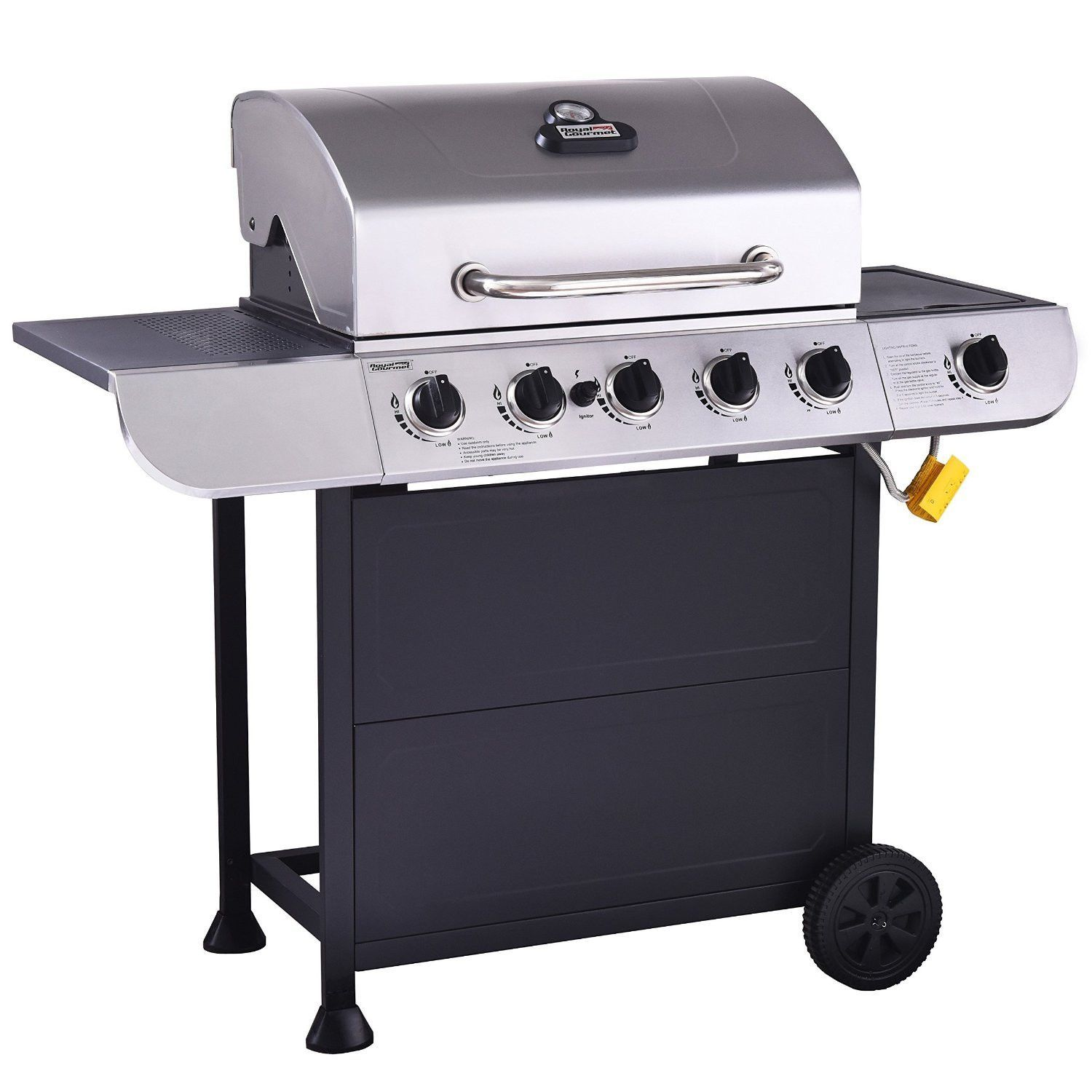 RoyalGourmet Classic 5 Burner Propane Gas Grill with Side Burner New