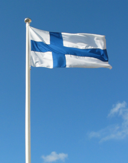 Finnish national flag. Finnish Independence Day on 6th of December (1917 - 2014).