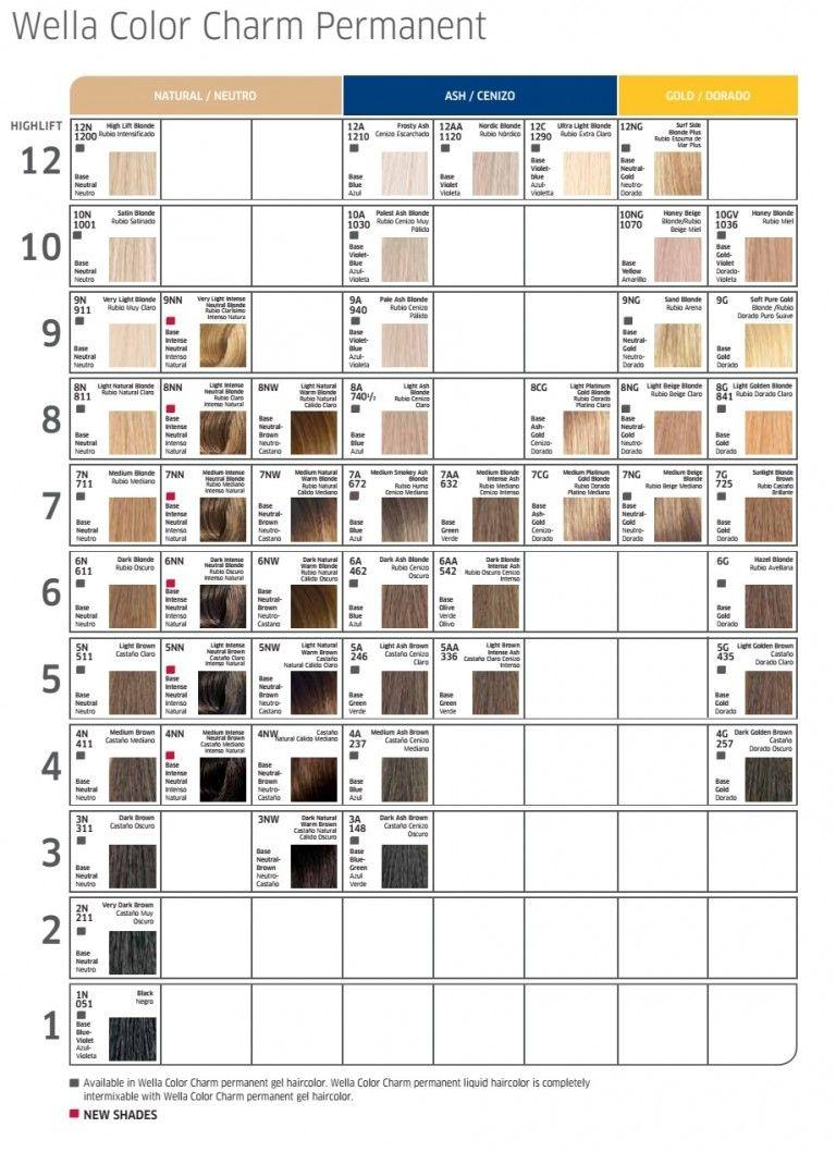 Wella Color Charm Permanent Hair Dye Color Chart Hair Dye Colors Hair Color Chart