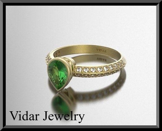14K Pear Cut Green Peridot Diamond Engagement Ring by Vidarjewelry, $1650.00
