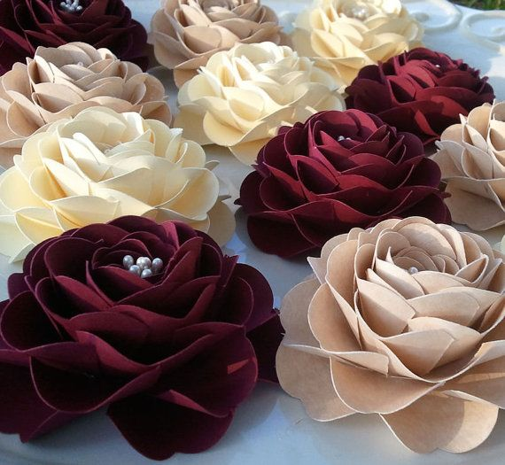 Wedding decoration baby shower ruffled roses paper flowers wedding decoration baby shower ruffled roses paper flowers customized colors set of 25 red and ivory made to order junglespirit Gallery