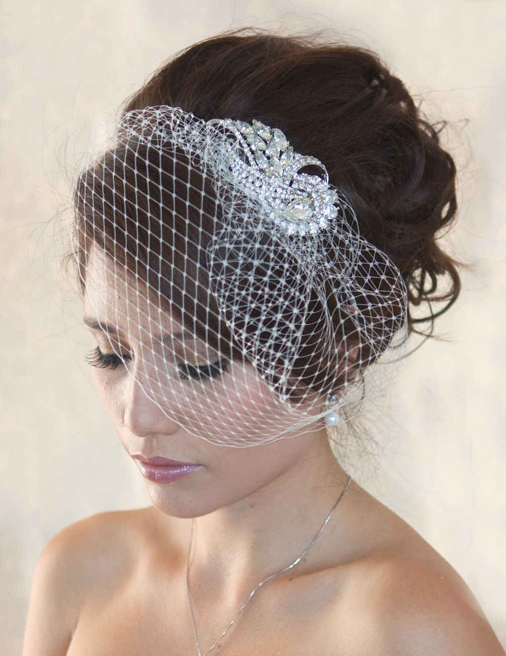 wedding birdcage veil with crystal rhiestone by wearableartz