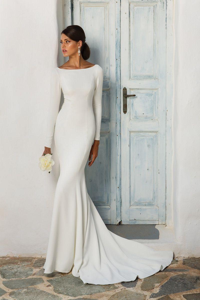 Justin Alexander Crepe Long Sleeved Wedding Dress With Beaded Illusion Back Cowl Back Wedding Dress Wedding Dress Silhouette Sleek Wedding Dress