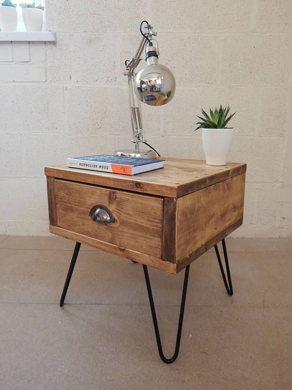 Bedside Table Nightstand Side Table Handmade Industrial Reclaimed Wood Metal Hairpin Legs Mid Century Modern Retro Vintage Industrial Furniture Reclaimed Wood Bedside Table Reclaimed Bedside Table
