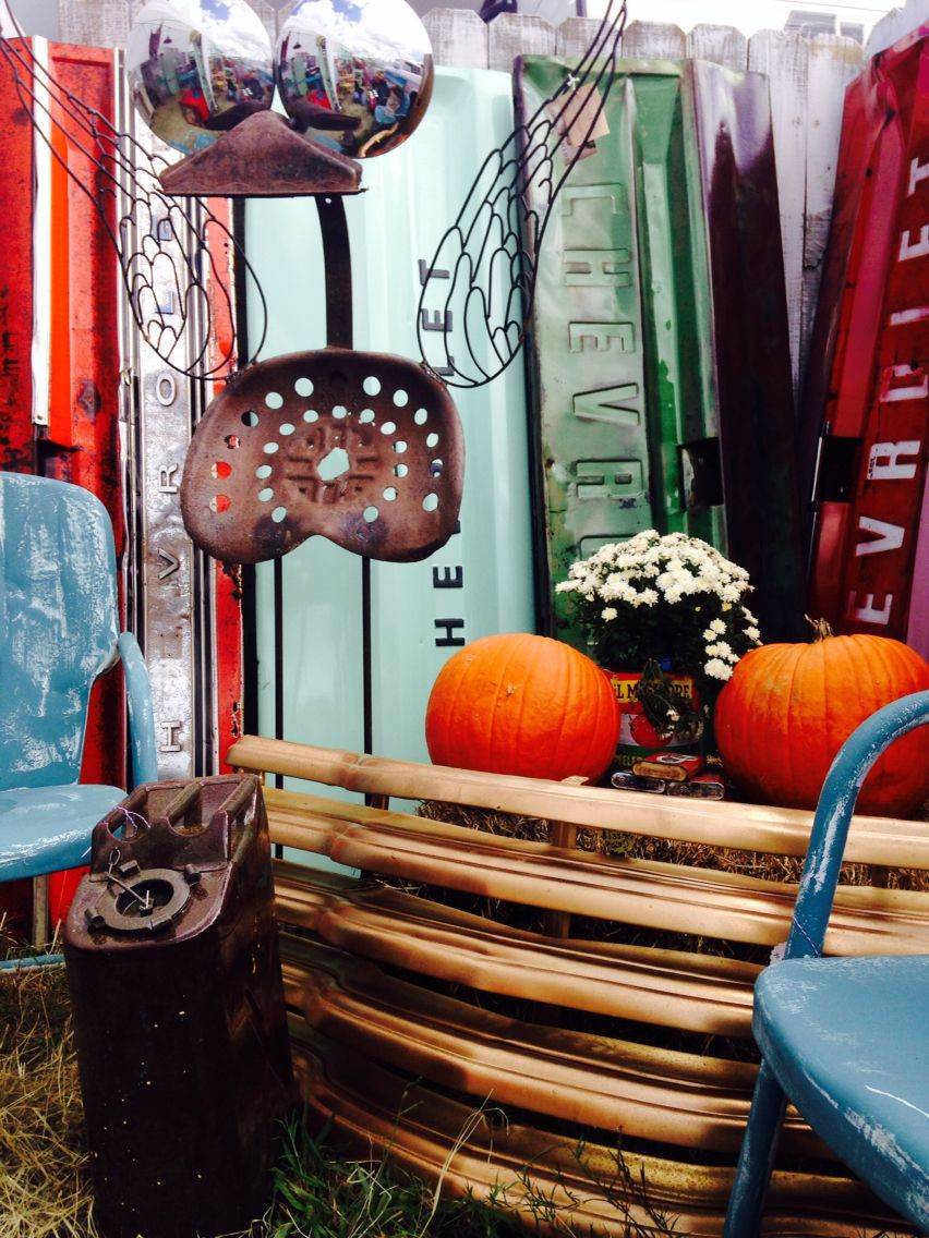 Fly Man! Rusty Art! Vintage Lillies Fall Roundtop booth 2014.