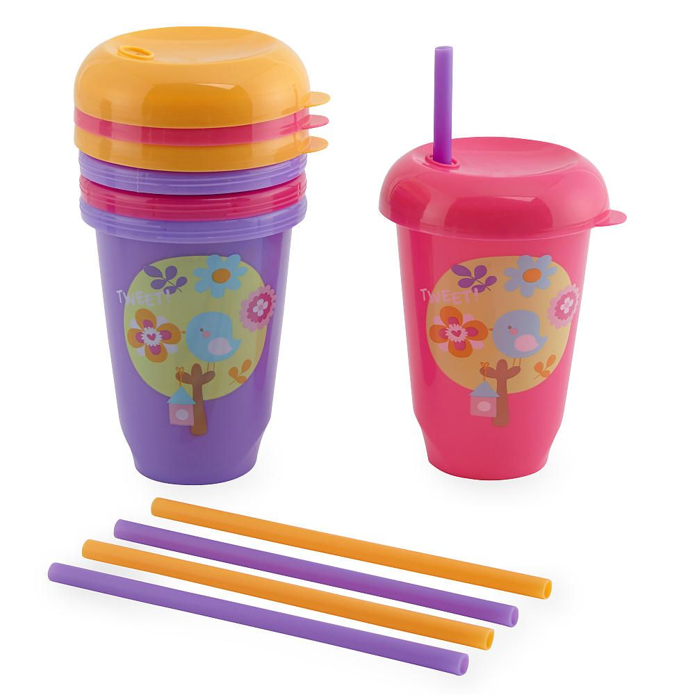 Babies R Us Reusables Girls 10 Ounce Straw Cups 5 Pack Baby Sippy Cup Kids Dinnerware Baby Bottles