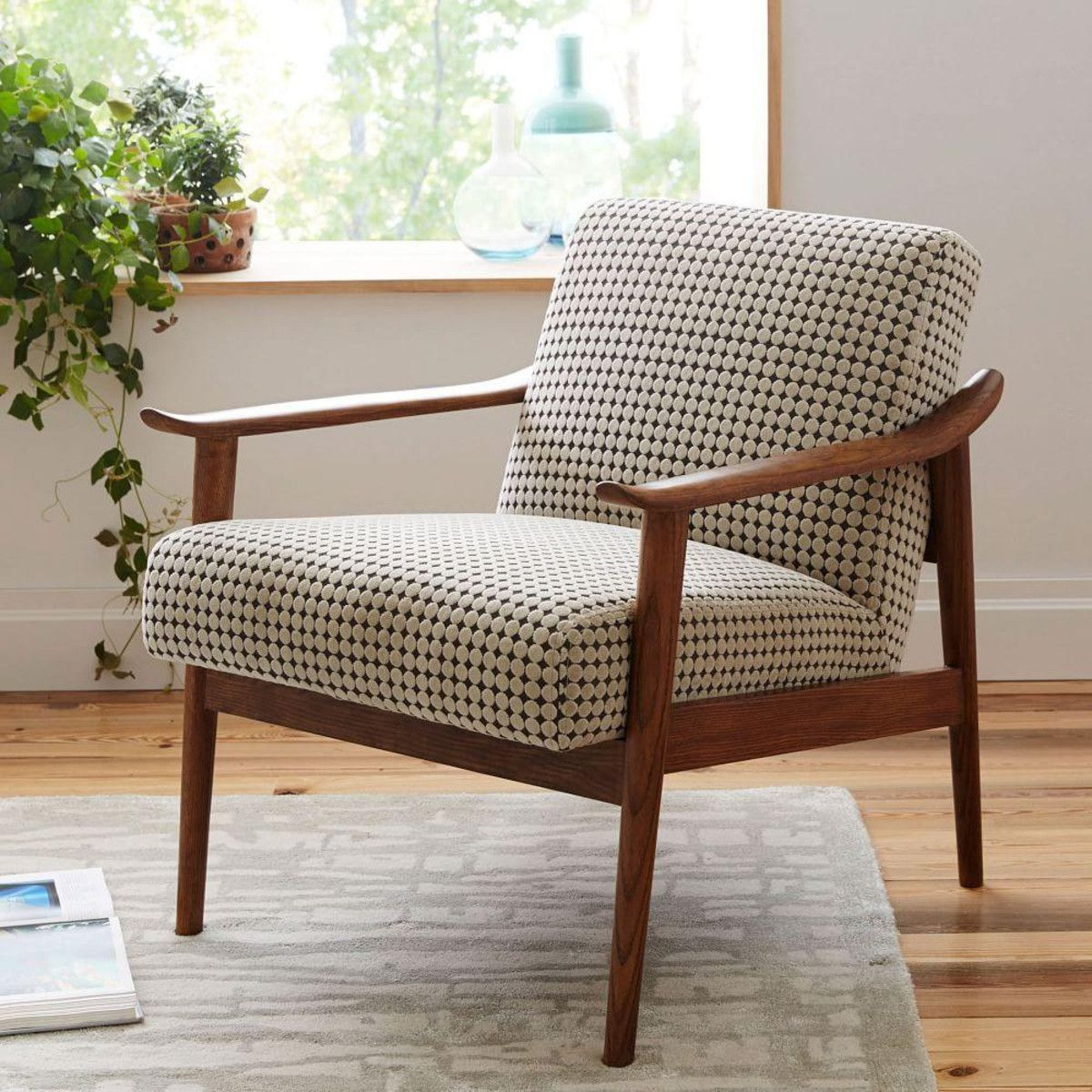 Mid century show wood upholstered chair reupholstered - Upholstered benches for living room ...