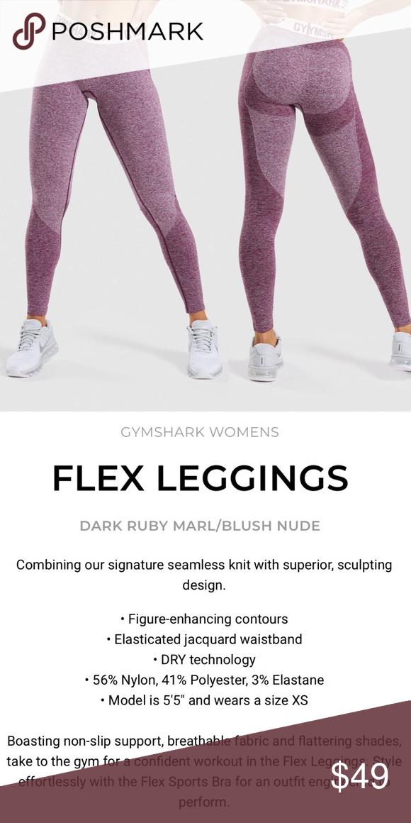b16875e50f4f2 NWT {GYMSHARK} Flex Leggings, Dark Ruby Marl, Sz M ADDITIONAL PICS ...