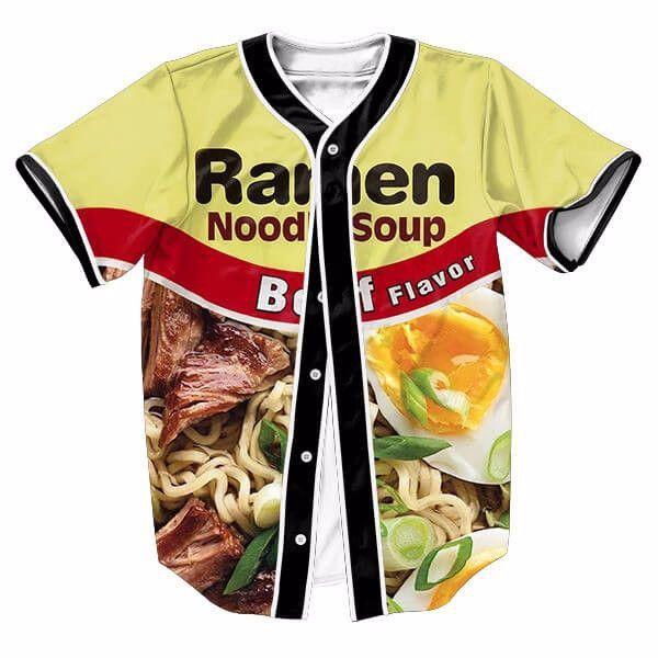 Foods Colorful Ramen Noodle Soup Men Baseball Jerseys New Hip Hop