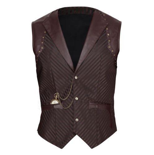 Vintage Goth Steampunk Weste Herren braun Vest brown Gothic gens man men  VG16444