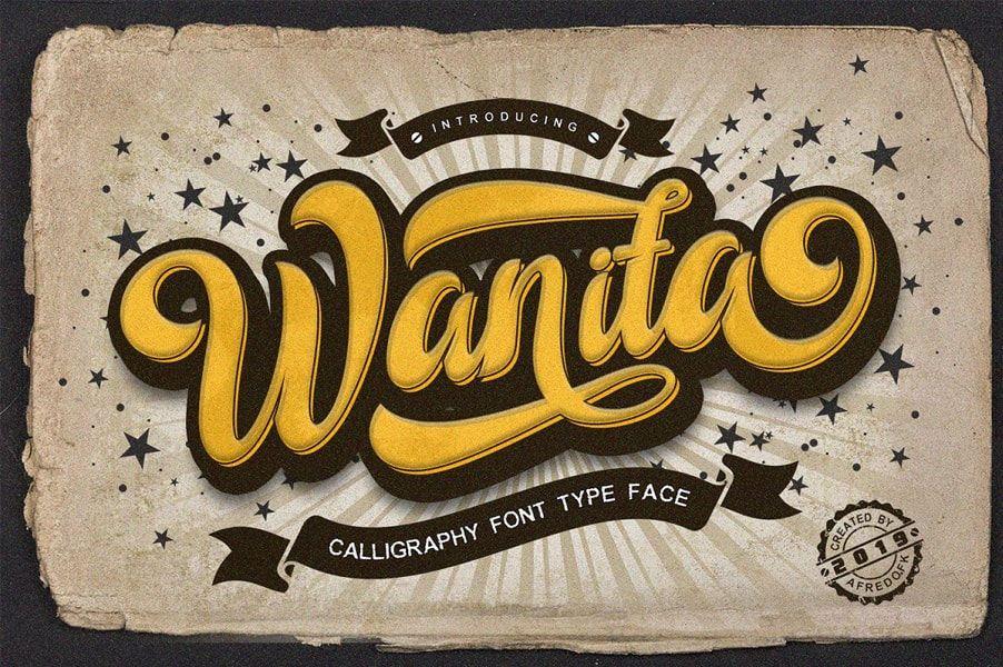Wanita Vintage Script Free Download Cool Fonts Script Fonts Free Script Fonts