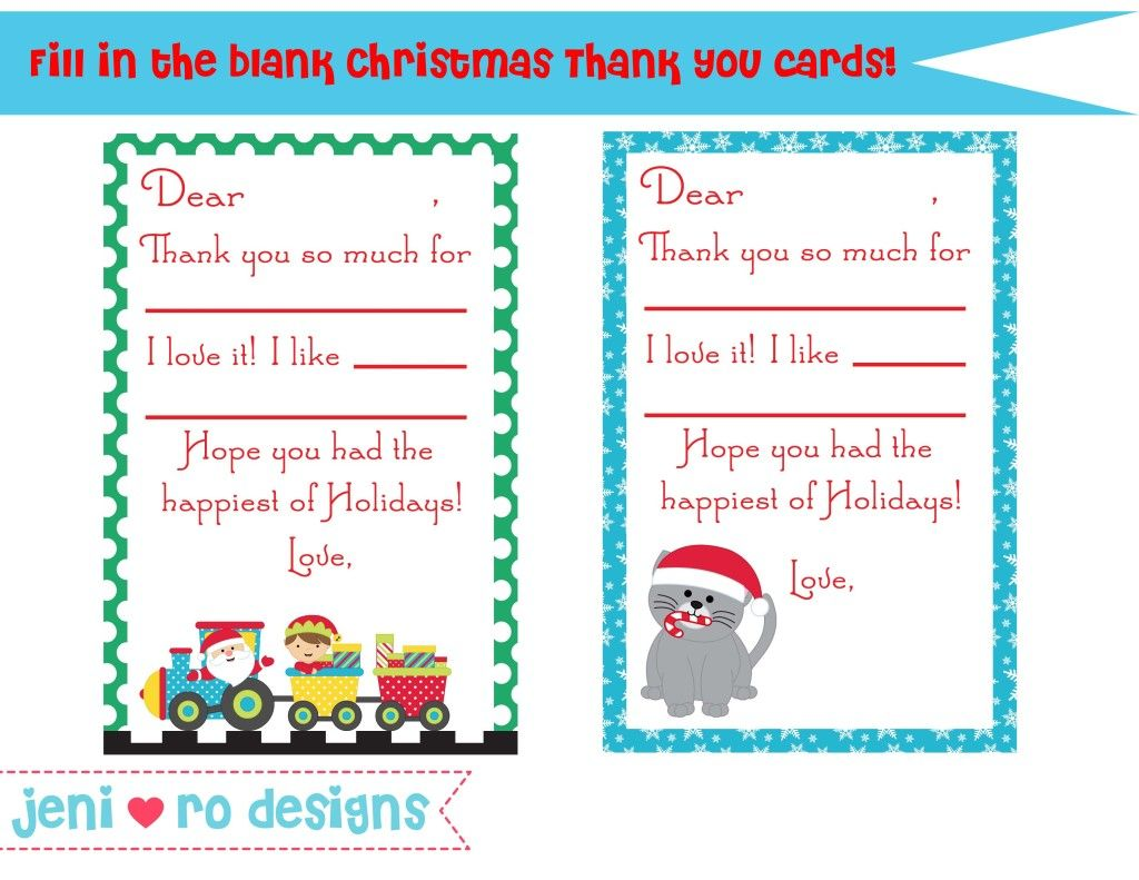 Christmas Thank You Card Printable Free Www Jenirodesigns Com
