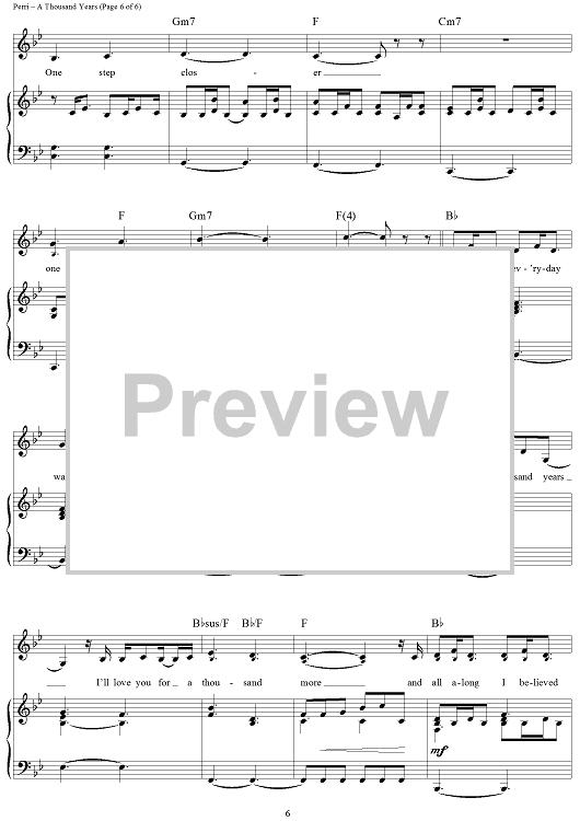 A Thousand Years Sheet Music Yelomdiffusion