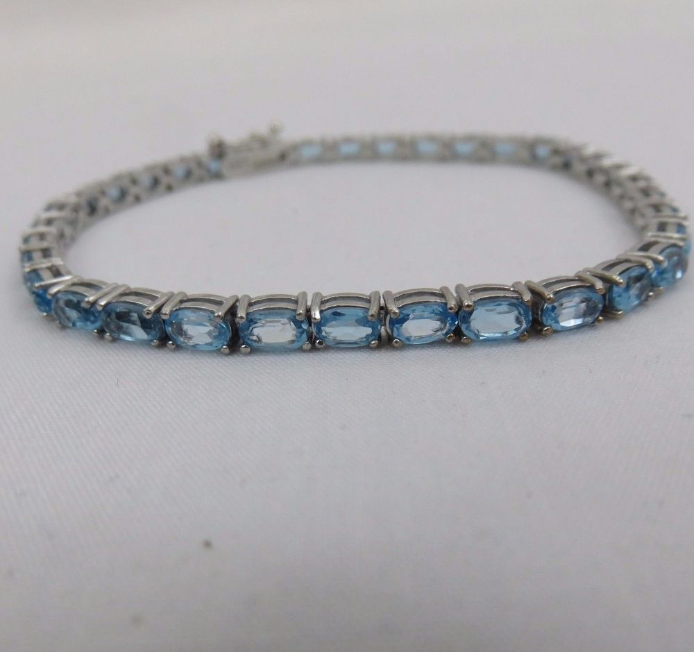 Swiss blue topaz and sterling silver tennis bracelet with gift box