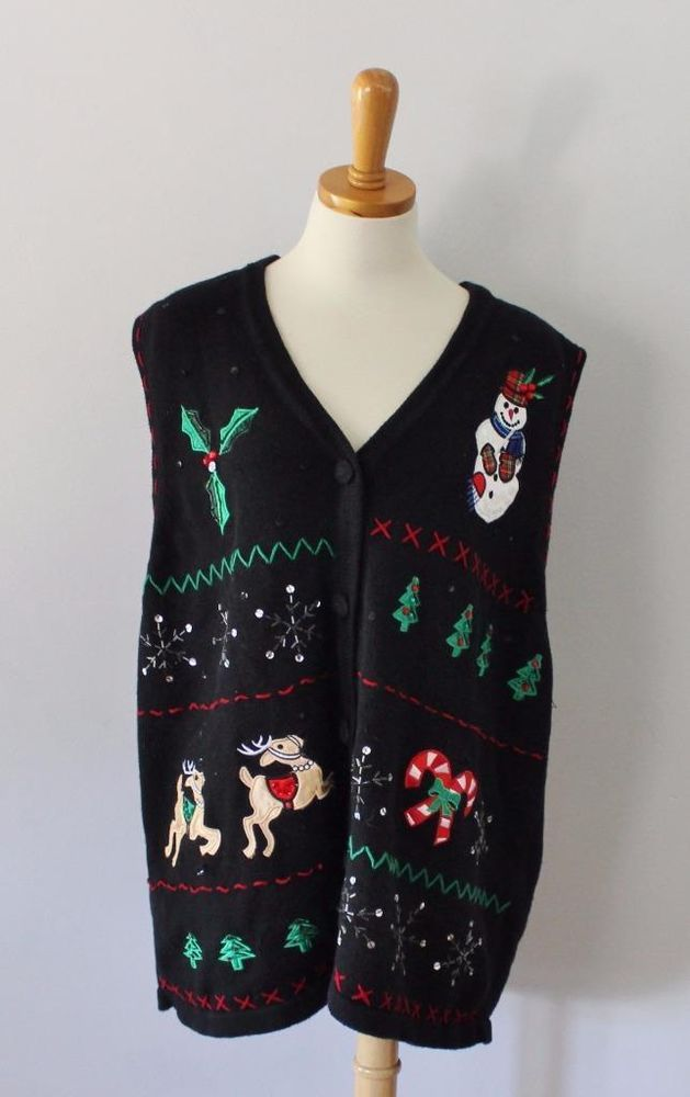 Ugly Christmas Sweater Vest Women men 2XL xxl snowman BUSY cotton ...