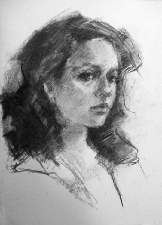 Robyn's Gaze - original charcoal portrait drawing by Connie Chadwell