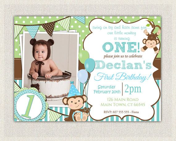 Boys blue and green monkey 1st birthday invitation printable boys blue and green monkey 1st birthday by pixieperfectparties filmwisefo