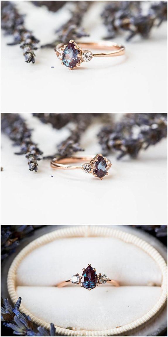 Anillo de compromiso de tres piedras de zafiro, anillo de compromiso de pera, anillo de tres piedras – Nadine Blog
