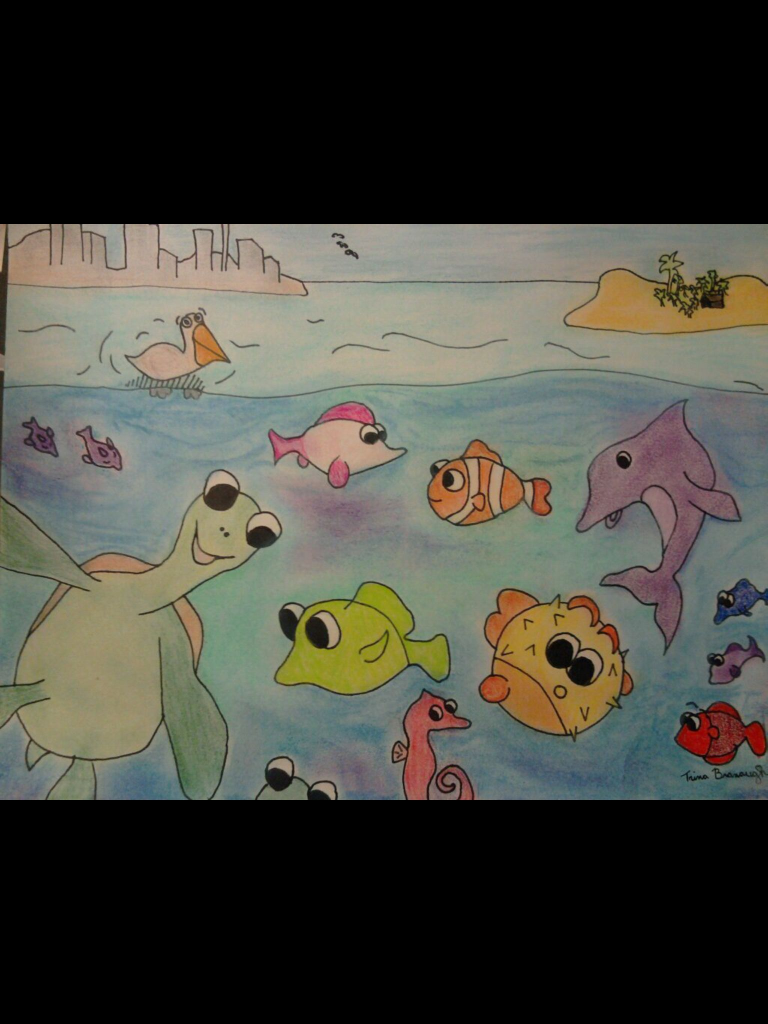I drew this for Dillion's room when he was a baby. Pastel, sharpie and prisma color pencil