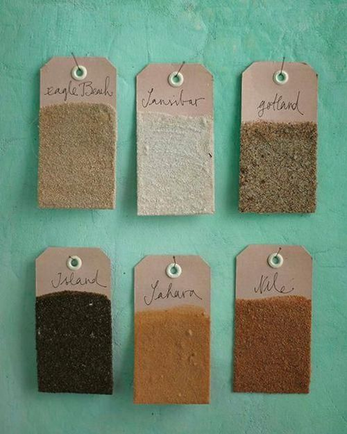 Memory tags of sand from travel