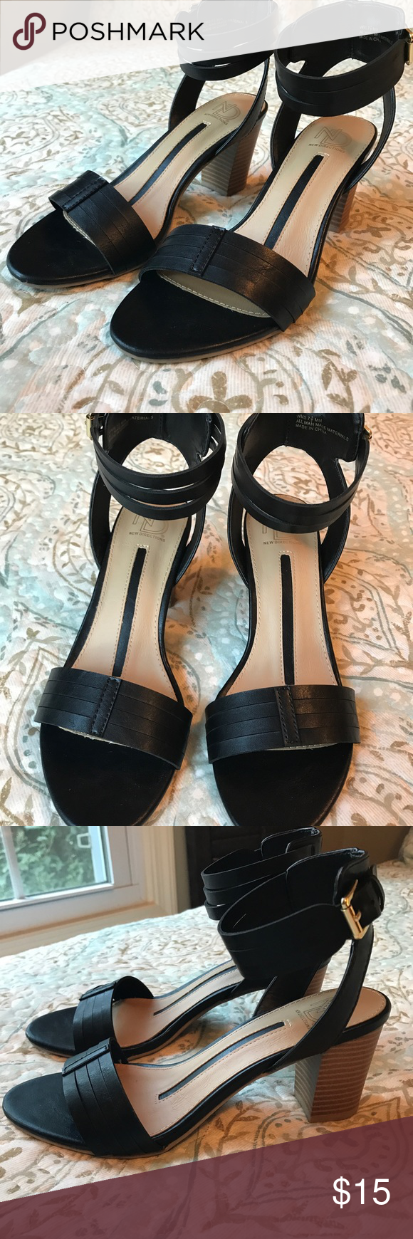 f1c4db049f7 New Directions 7.5 Block Wooden Heel Black Sandals New Without Tags Box!  This style is all in right now. new directions Shoes Sandals