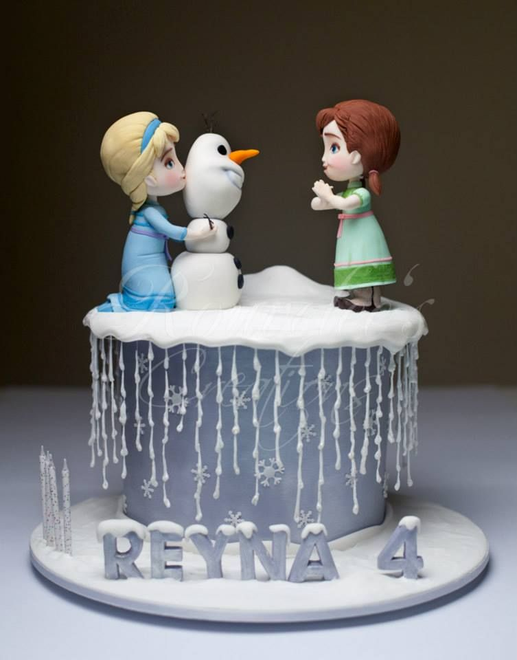 want to build a snowman frozen cake with elsa  anna  and