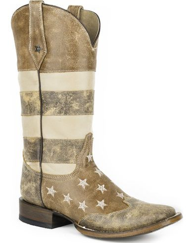 d5f1fff6694 Roper Women's Brown Vintage American Flag Western Boots - Square Toe ...