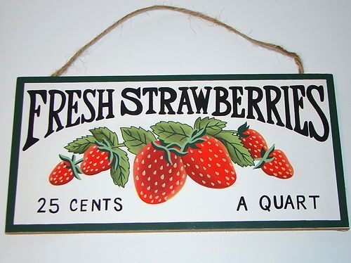 Rustic Country Fruit Plaque Fresh Strawberries Kitchen ...