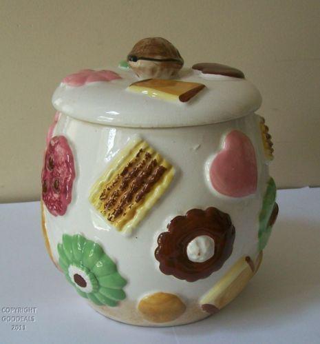 1950's Cookie Jars Vintage Napco Cookie Jar 1950's Cookies All Over Walnut Knob Lid C