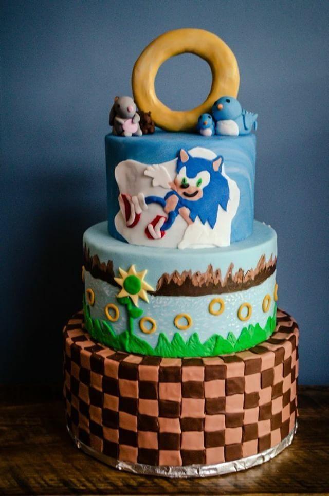 Sonic The Hedgehog Birthday Cake Handpainted Gold Rings Roanoke Va