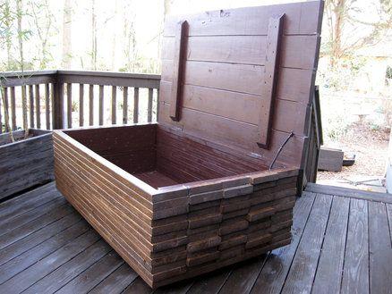 Waterproof Deck Storage Cool Idea For Scrap Wood Waterproof Outdoor Storage Outdoor Toy Storage Diy Outdoor Furniture