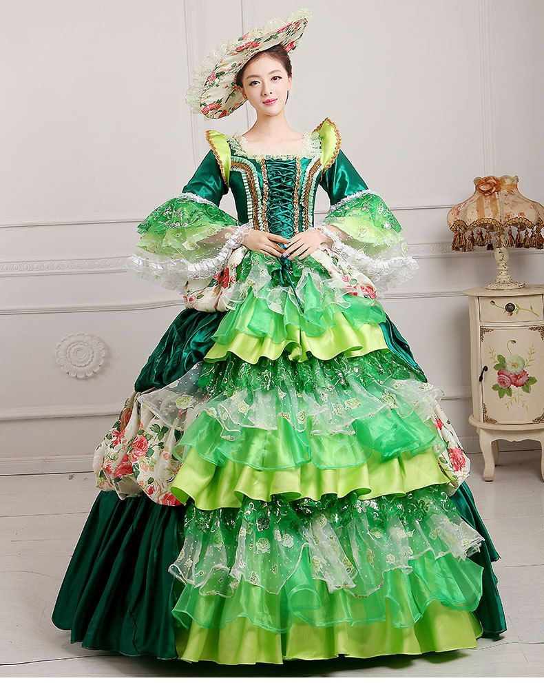 663087d7e7ec6 luxury lace pink/yellow/blue/green flowers ruffled medieval dress ...