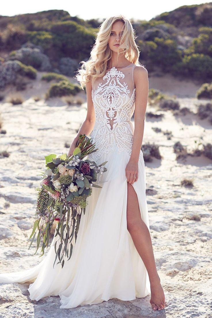 Boho flowy chiffon beach wedding dress with lace details desert