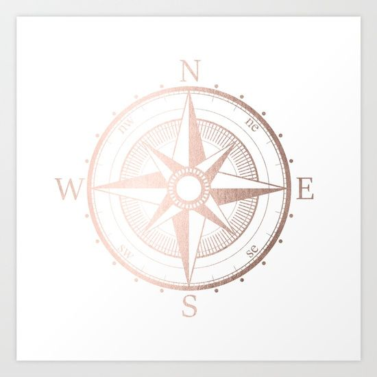 Rose Gold Nautical Compass On White Metallic Pink Texture On A White Background Also Available With Nature Backdro Gold Compass Rose Gold Compass Compass Art