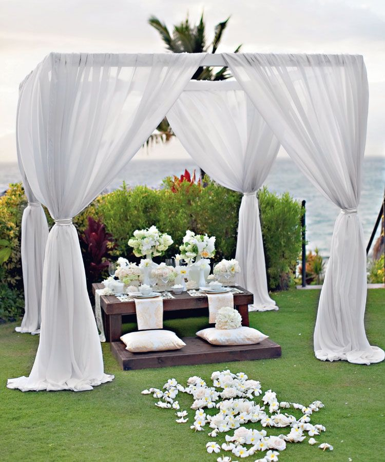 Wedding Canopy Decoration Ideas: #two Legged Wedding Arch Draped As This Completely, Tied