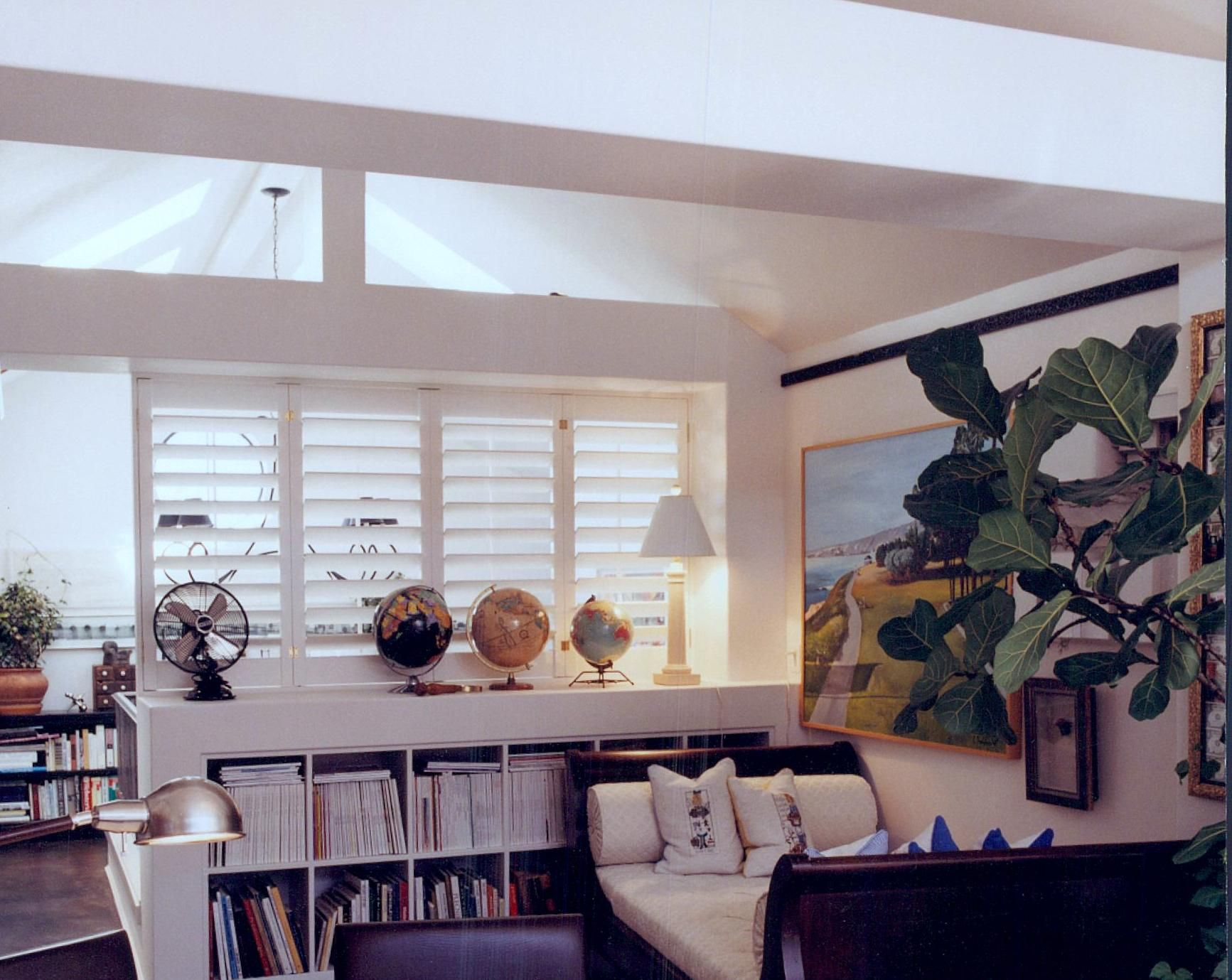 Image result for half wall bookcase shutters