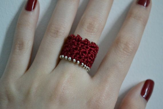 beaded silk crocheted ring, red/silver