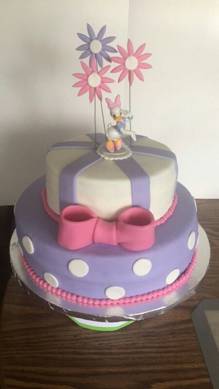 Astounding Daisy Duck Themed Cake Fondant 2 Tiered In 2019 Daisy Duck Personalised Birthday Cards Paralily Jamesorg